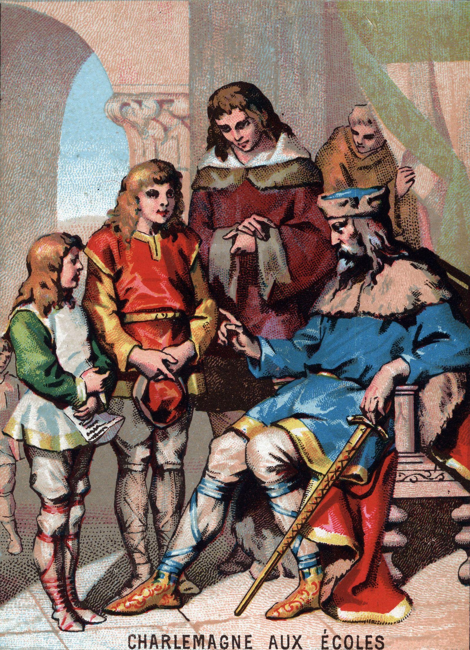 EINMALIGE VERWENDUNG Karl der Große mit seinenKindern
