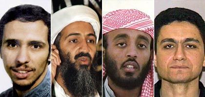 From left to right: Mohamedou Ould Slahi, Osama bin Laden, Ramzi Binalshibh and Mohammed Atta
