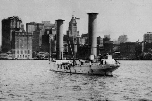 """Flettnerantrieb auf der """"Buckau"""" (1926): Skurrile Säulen auf dem Deck"""