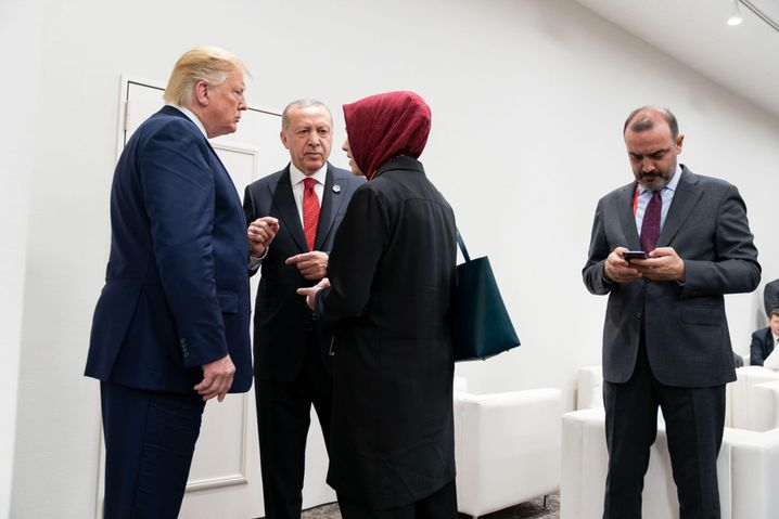 Trump, Erdoǧan and the interpreter Fatima Abushanab in 2019