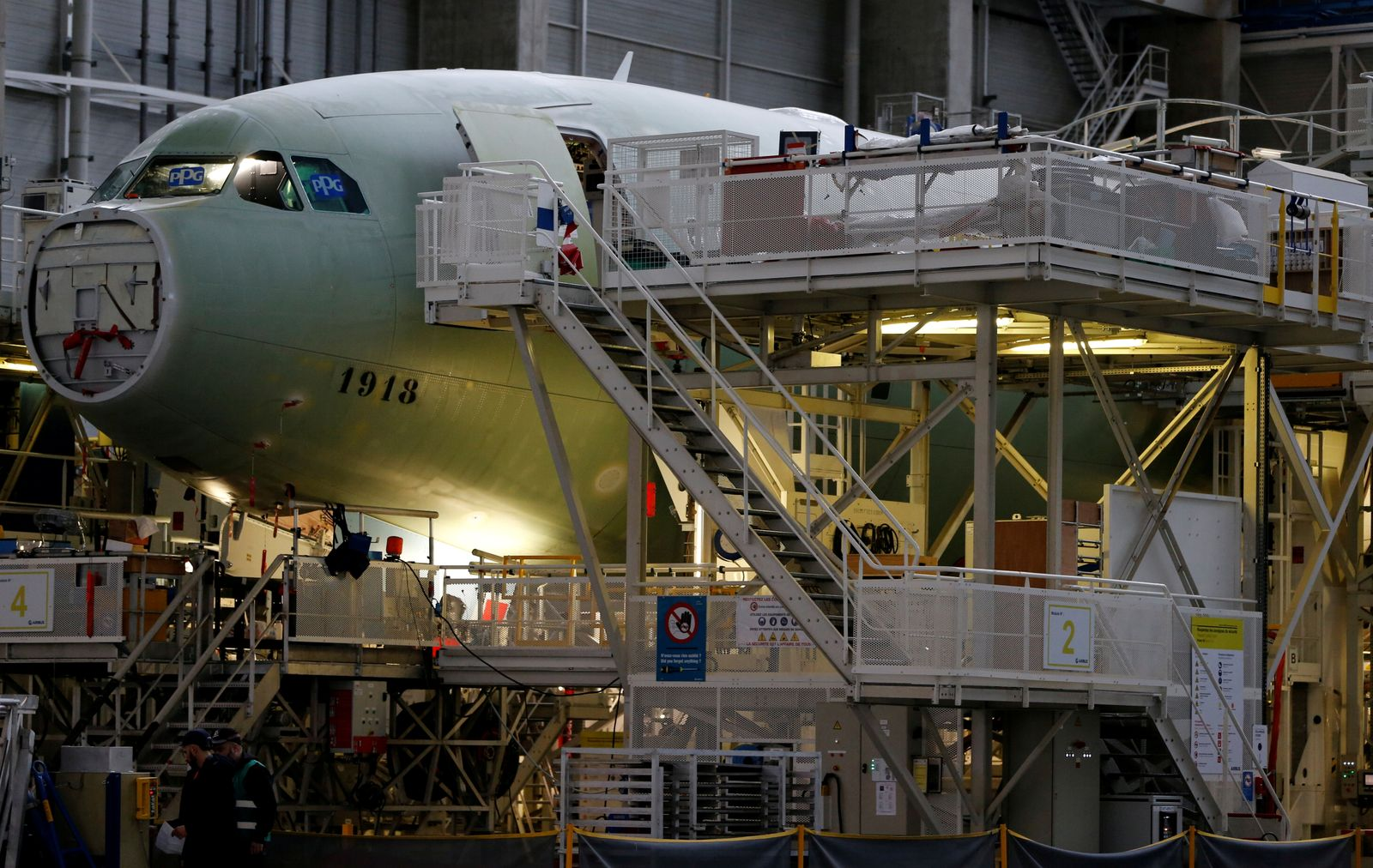 FILE PHOTO: An Airbus A330neo on its final assembly line at Airbus headquarters in Colomiers, near Toulouse