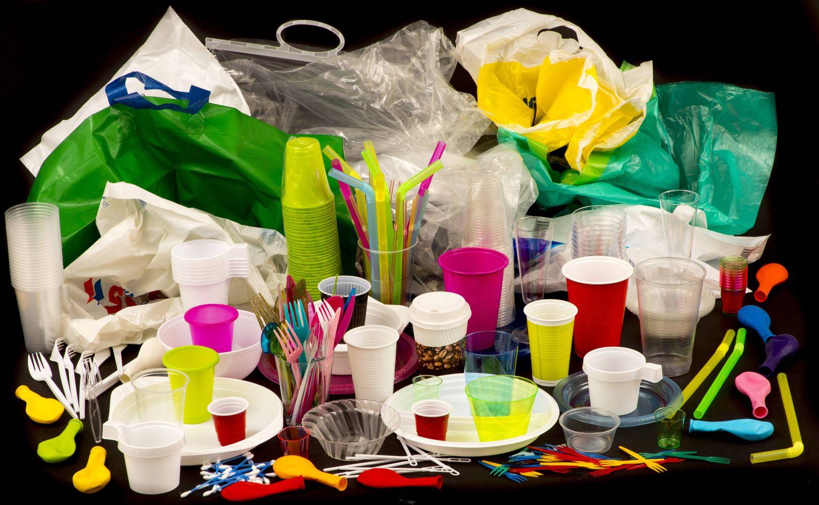 EINMALIGE VERWENDUNG Plastikteller / Plastiktüten / Strohhalme