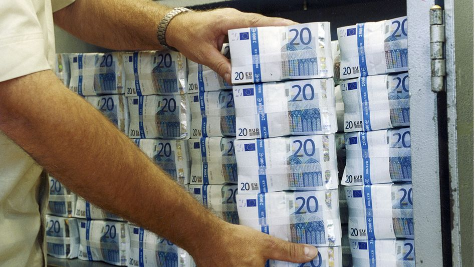 Stacks of €20 notes at the Bundesbank, Germany's central bank.