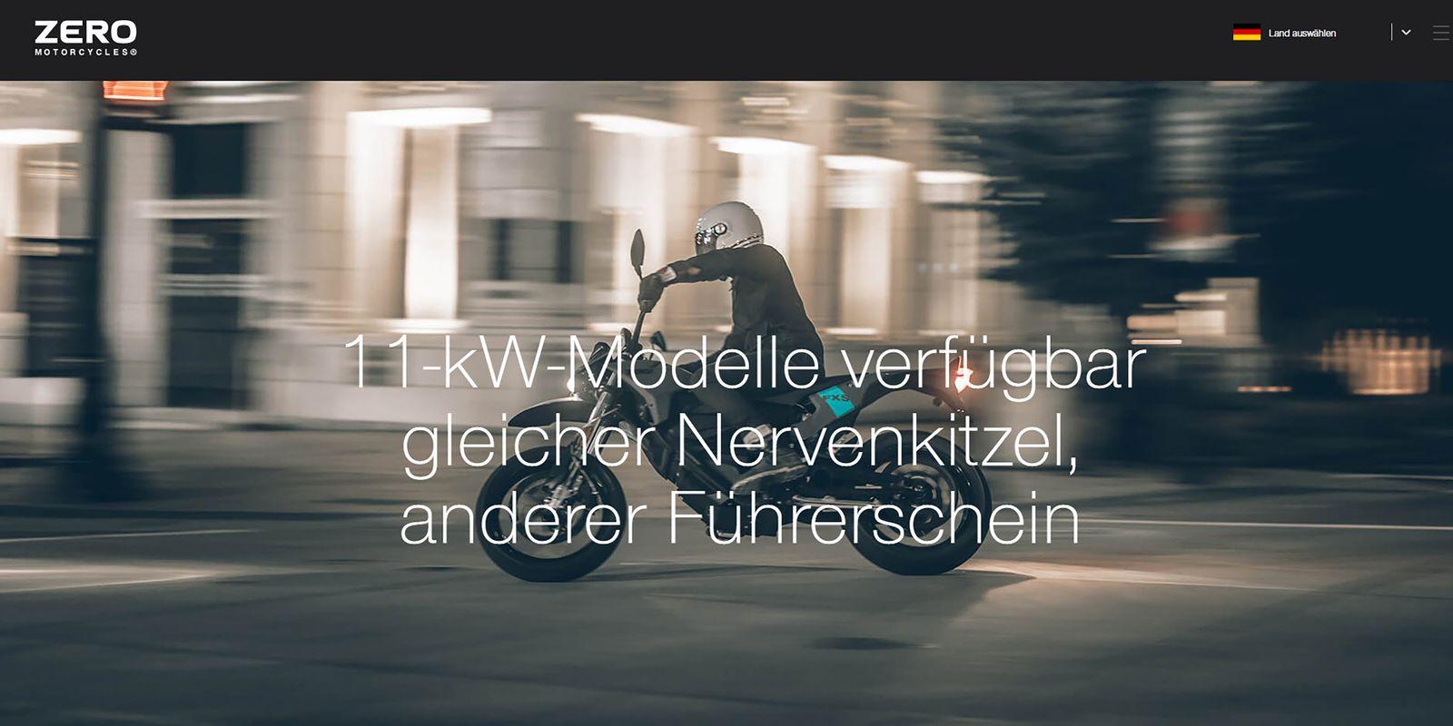 Zero Motorcycles Website