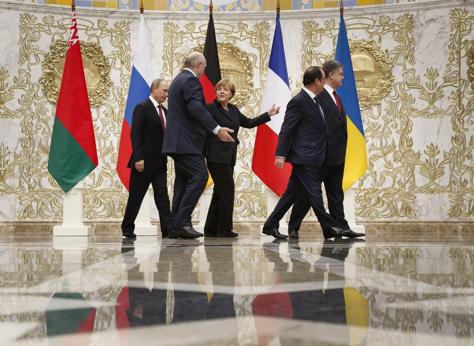 Angela Merkel / Wladimir Putin / Francois Hollande / Alexander Lukashenko / Petro Poroshenko