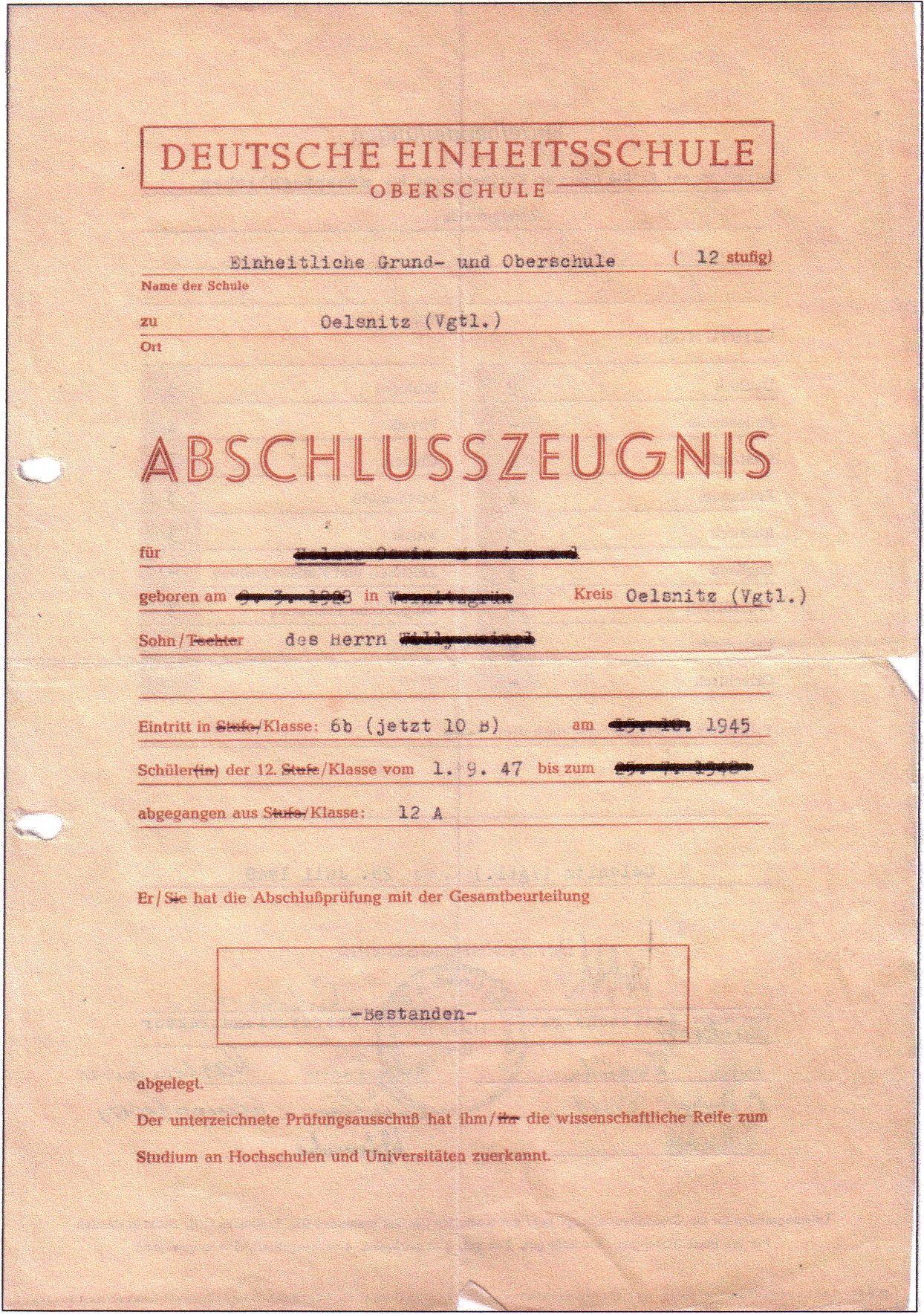 NUR FÜR EINESTAGES - Abiturzeugnis