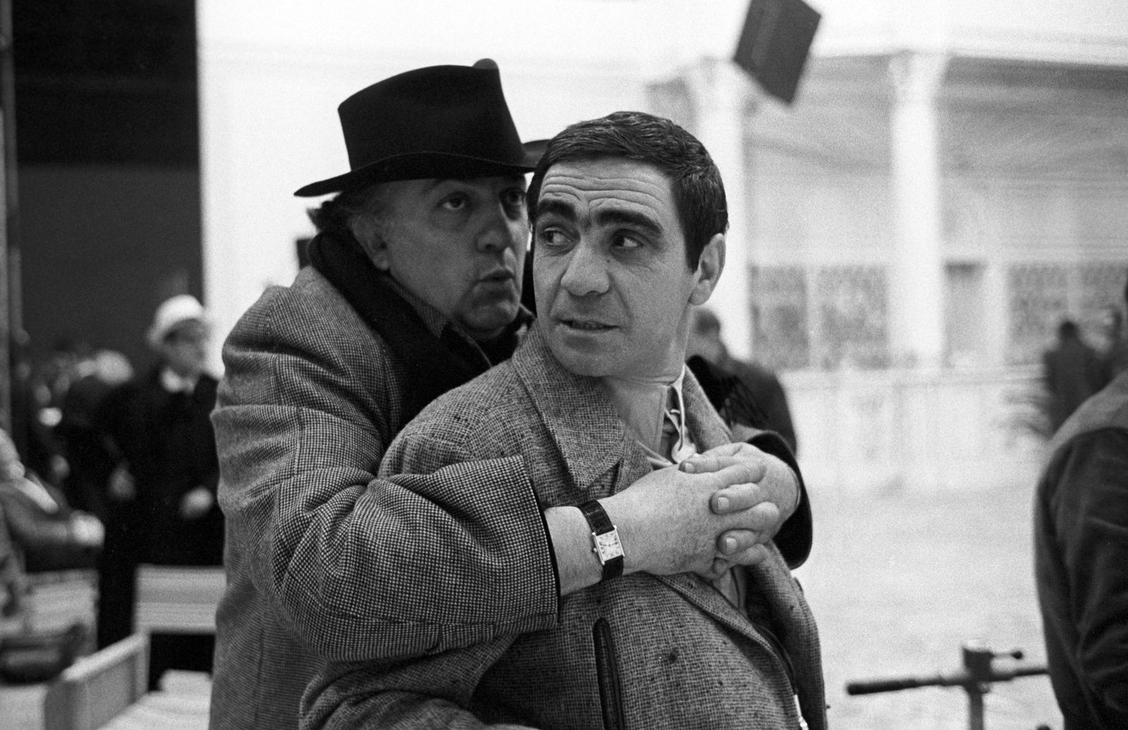 Federico Fellini and Giuseppe Rotunno on the set of the film Amarcord