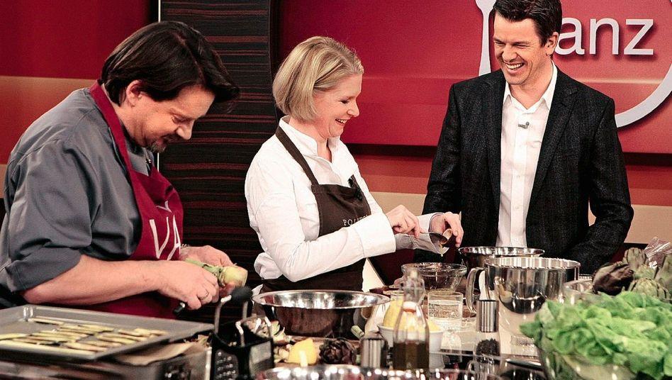 TV-Kochshow mit Kolja Kleeberg, Cornelia Poletto und Markus Lanz in »Lanz kocht!«