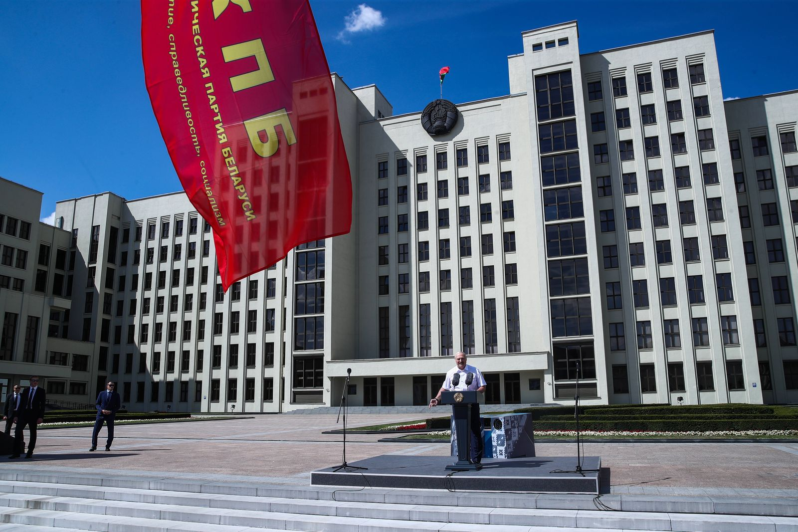 MINSK, BELARUS - AUGUST 16, 2020: Belarus President Alexander Lukashenko speaks during a rally of his supporters in Inde