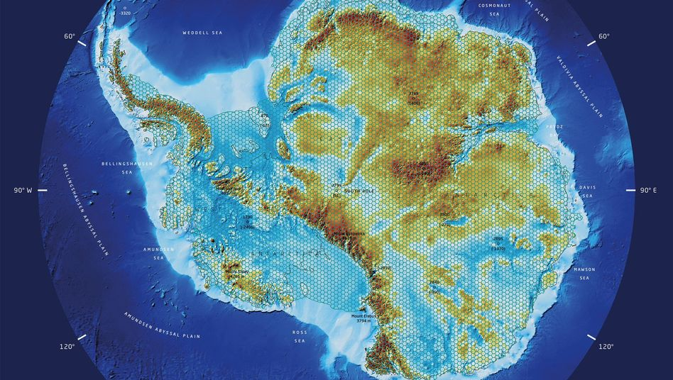 Fjorde, Seen, Gebirge - die Antarktis ohne Eis: Diese Karte haben Forscher der TU Dresden und des Alfred-Wegener-Instituts jüngst veröffentlicht. Sie zeigt, wie der Südkontinent ohne Eisbedeckung aussehen würde.