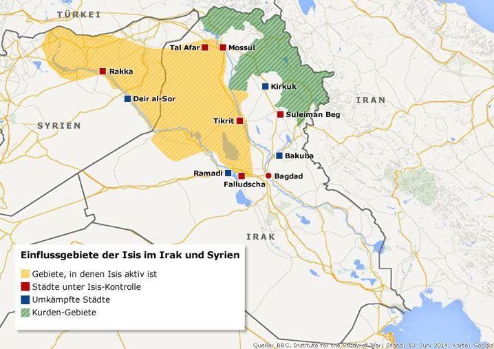 Einfluss des IS (gelb) in Syrien und im Irak (Stand Juni 2015)