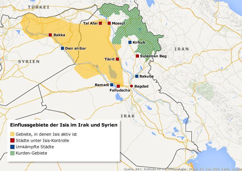 Karte - Einflussgebiete der ISIS im Irak und Syrien v2