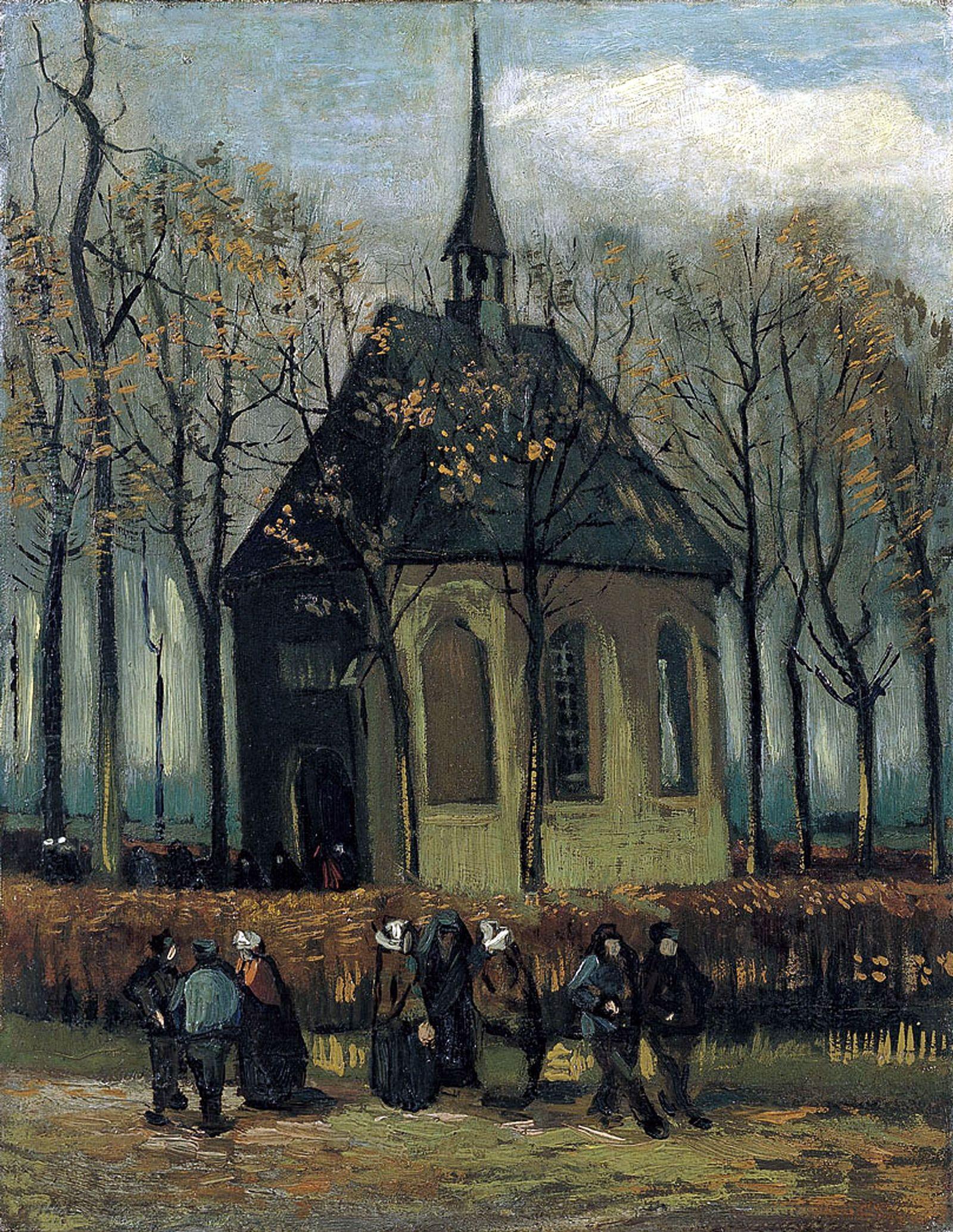 """van Gogh """"Die Gemeinde verlässt die reformierte Kirche in Nuenen"""""""