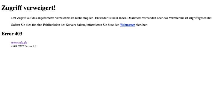 Nicht erreichbar: Die CDU-Webseite ist offline