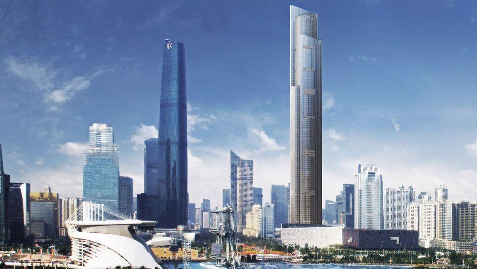 Guangzhou CTF Finance Centre (r.): Hier fahren ab 2016 die Highspeed-Lifte