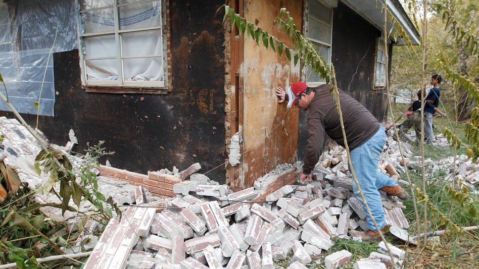 Beben von Oklahoma: Ziegel vom Haus gefallen