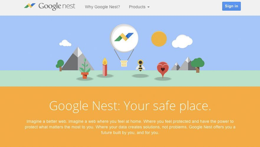 Fake-Website zur Präsentation: Google Nest
