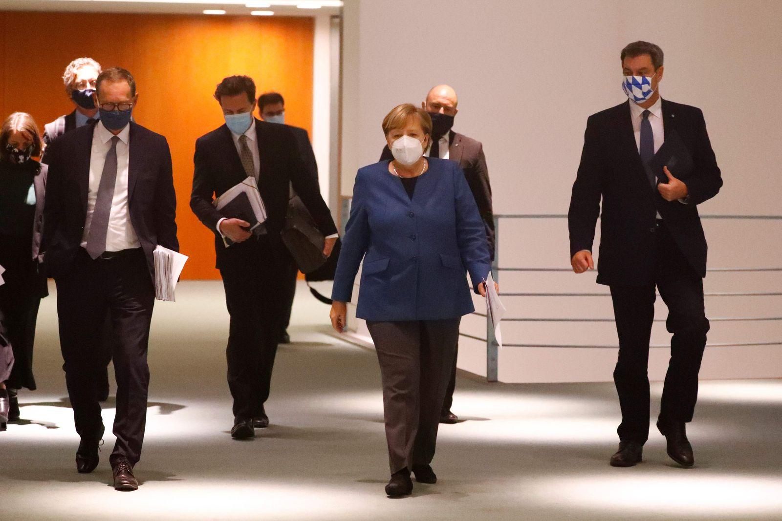 German Chancellor Angela Merkel attends a video-conference