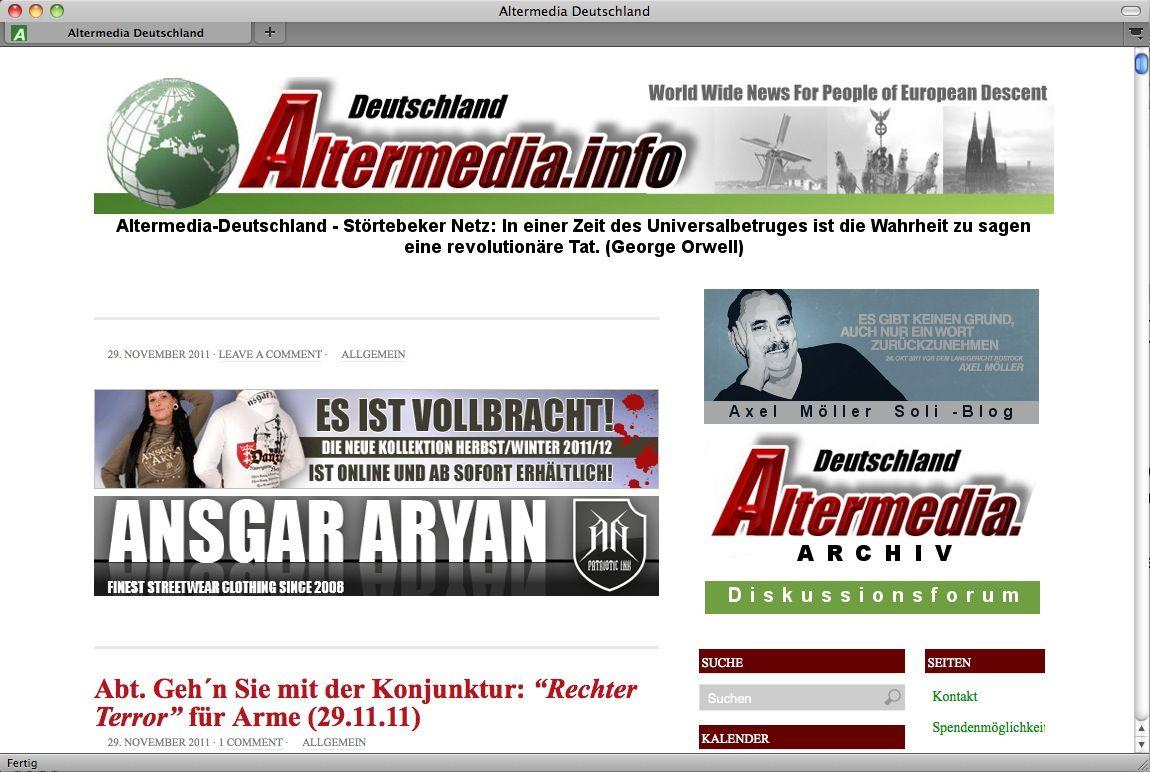 SCREENSHOT Altermedia / NETZWELT