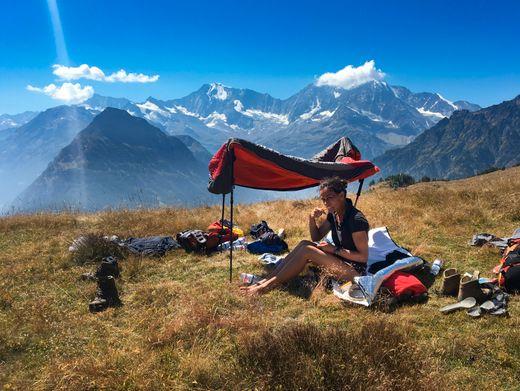 Mittagsrast vor dem steilen Abstieg nach Gondo