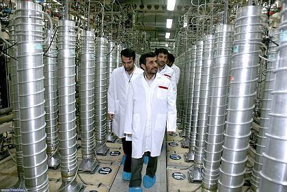 Iranian President Mahmoud Ahmadinejad visiting the Natanz uranium enrichment facilities some 300 kilometers south of Tehran.