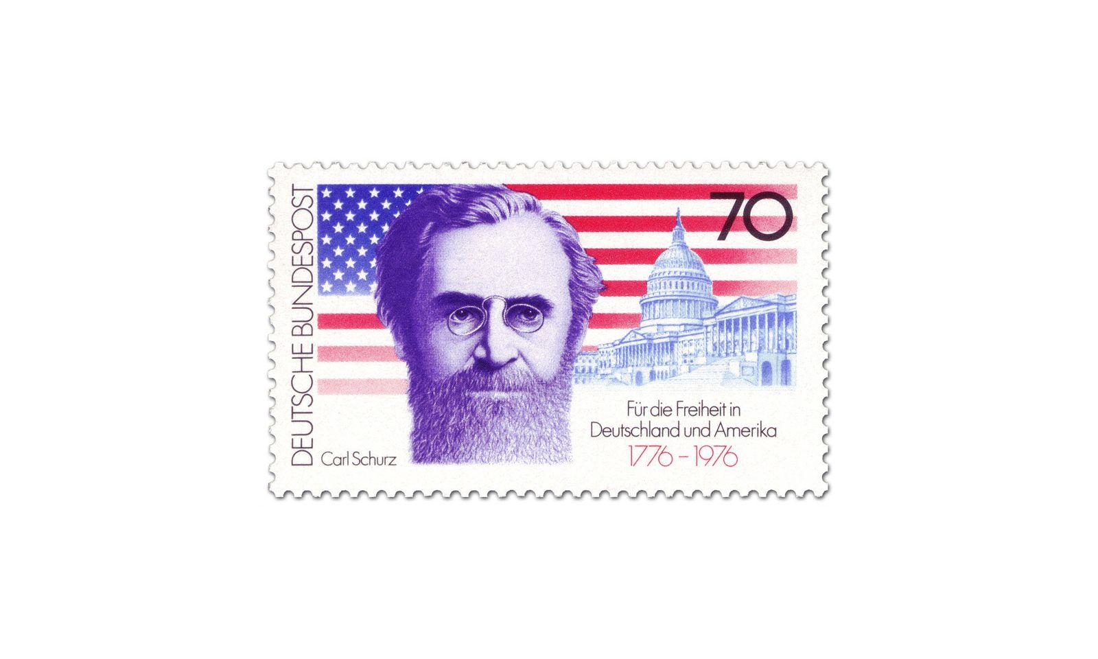 EINMALIGE VERWENDUNG Briefmarke: Carl Schurz vor Sternenbanner und Capitol