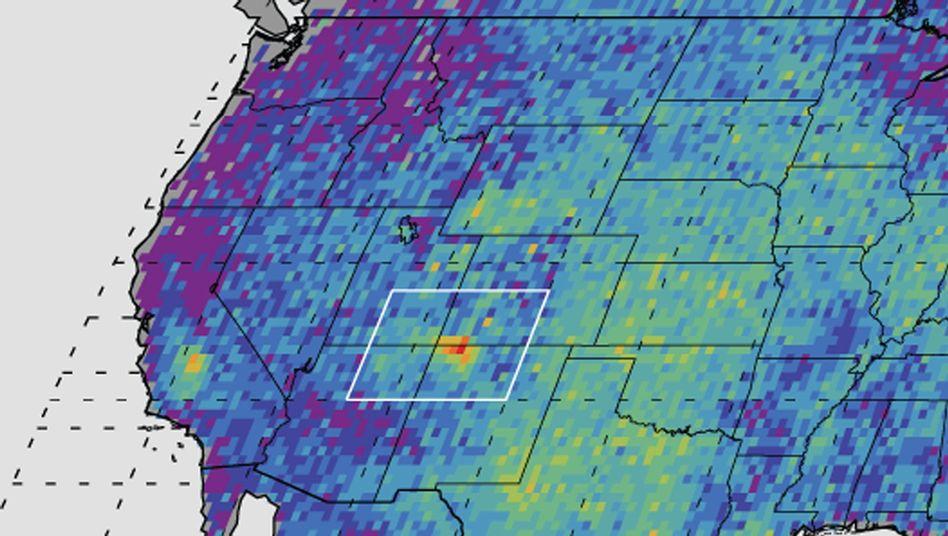 Methan-Ausstoß der USA zwischen 2003 und 2009: Die Four Corners stechen deutlich hervor.