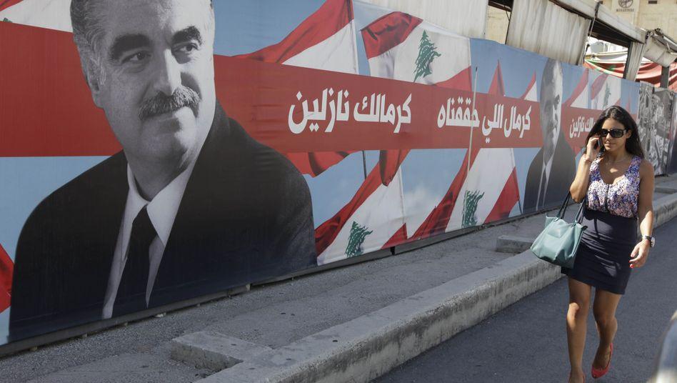 Portrait des ermordeten Rafik Hariri in Beirut: Anklage erhoben