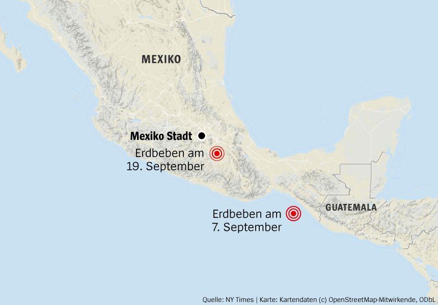 Karte Mexiko Erdbeben 19.09.2017