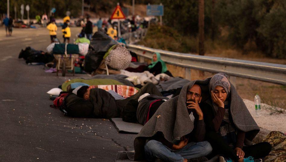 Obdachlose Geflüchtete auf Lesbos, 10. September 2020