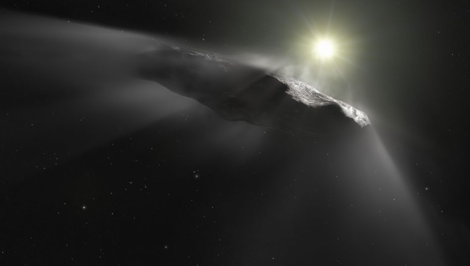 An artist's rendering of the interstellar object named 'Oumuamua.