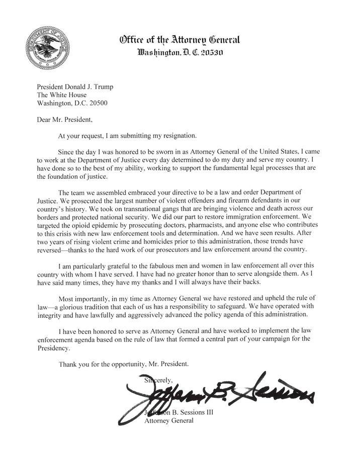 Sessions' Kündigungsschreiben