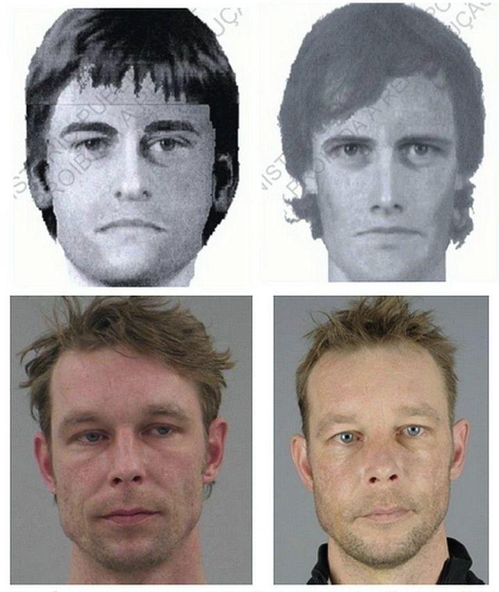 Ermittler verdächtigen Christian B. des Mordes. Polizeifotos (u.) zeigen Ähnlichkeiten zu Phantombildern im Fall Maddie (o.).