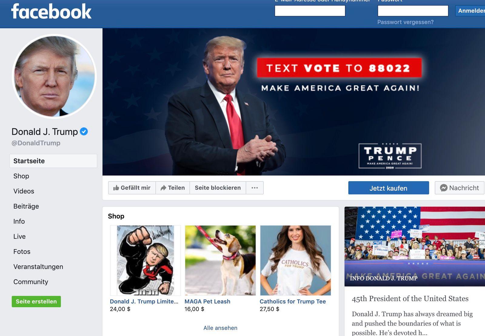 facebook sperrt trumps account