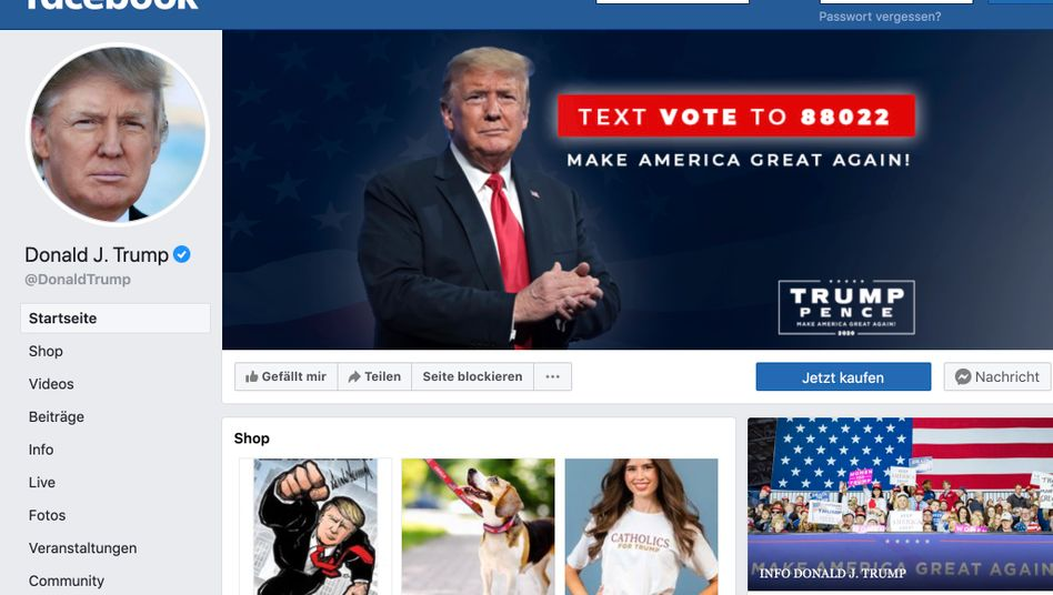 Facebook-Auftritt von Donald Trump: Fast 35 Millionen Accounts haben den Account abonniert