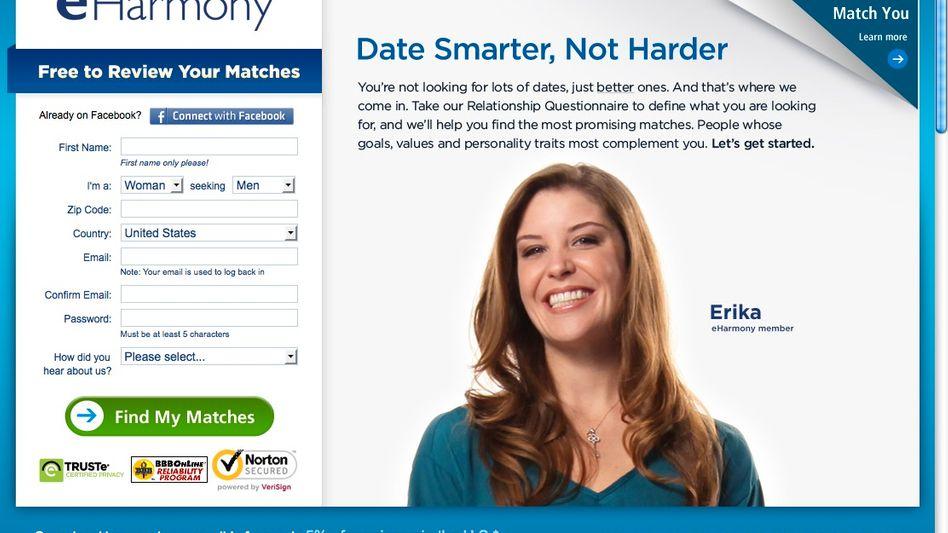 Partnerbörse eHarmony (Screenshot): Passwörter nur unzureichend geschützt