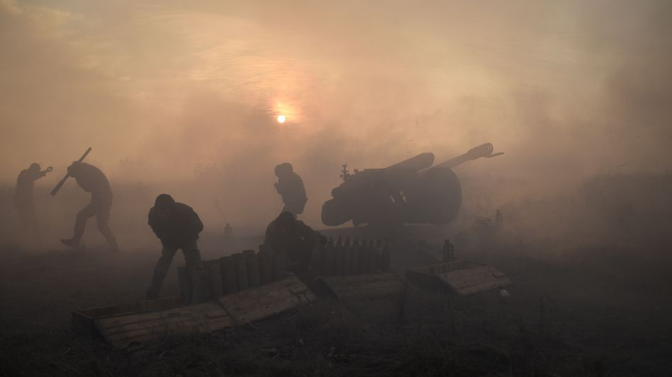 Ukrainian soldiers at the front in Donetsk