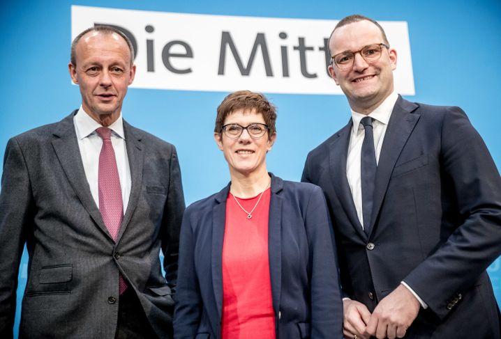 Konkurrenten Annegret Kramp-Karrenbauer, Jens Spahn, Friedrich Merz