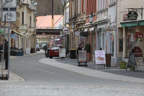 Fußgängerzone in Greiz, Thüringen
