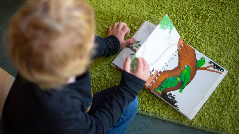 Ein Junge schaut sich in einem Kindergarten ein Kinderbuch an (Archivbild)
