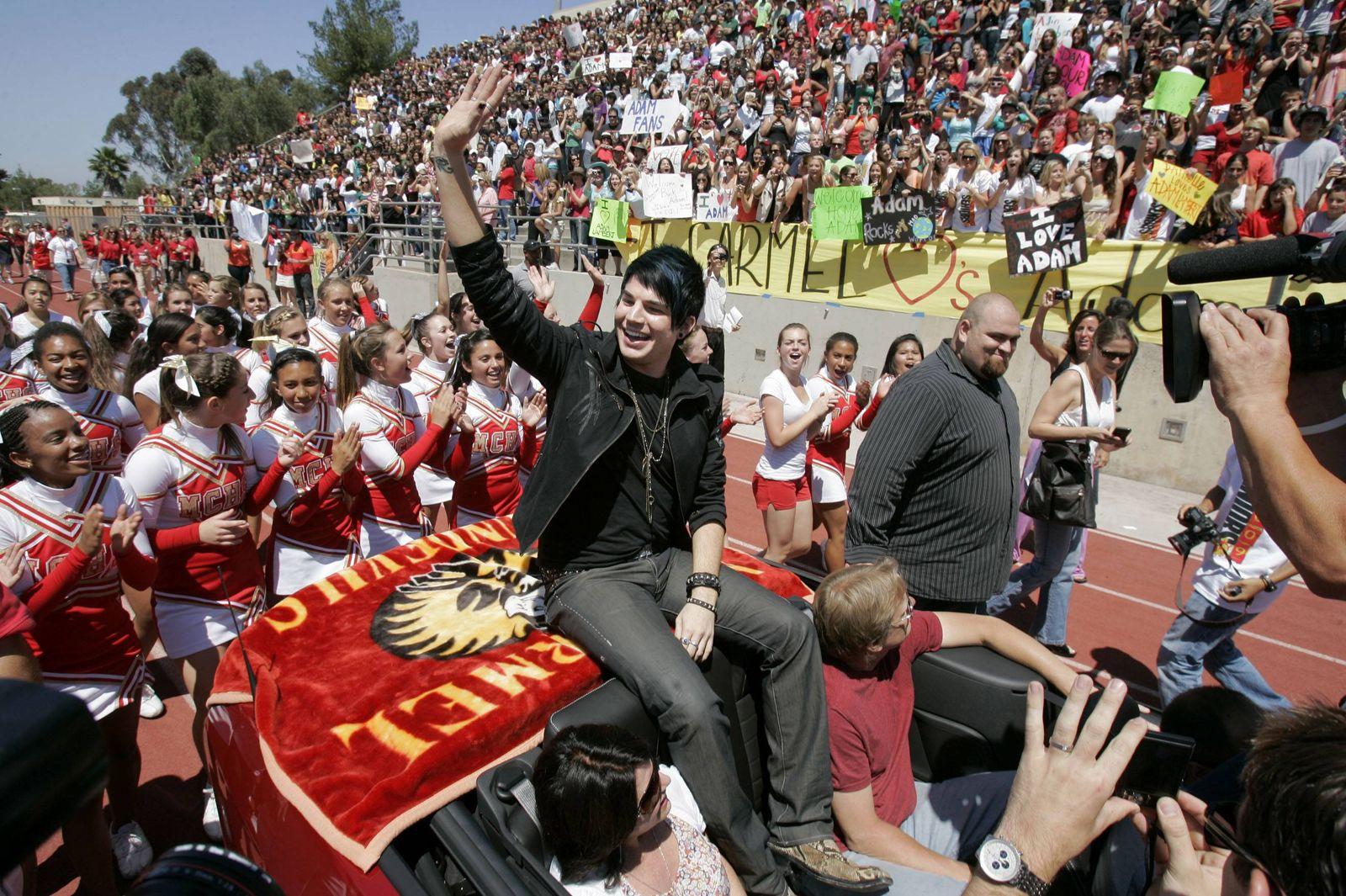 May 08 2009 San Diego California USA American Idol finalist ADAM LAMBERT waves as he begins a