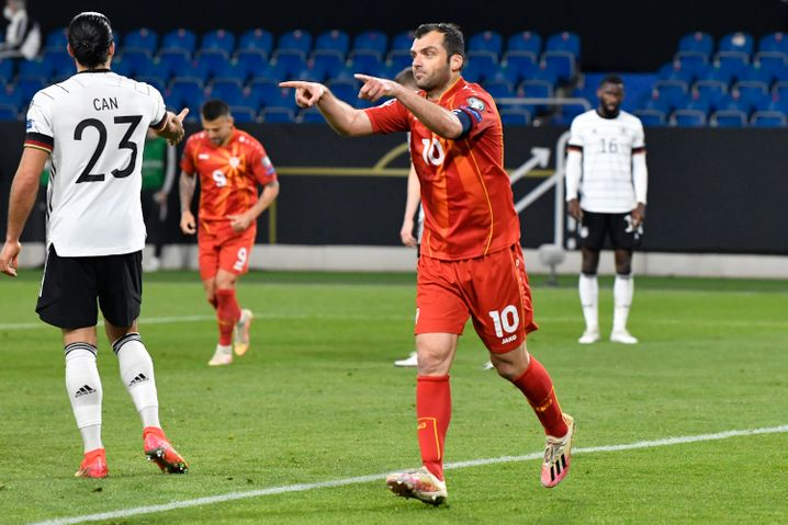 Goran Pandev nach seinem Führungstor gegen Deutschland