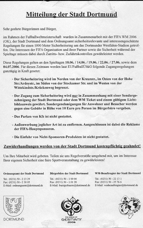 WM-Bannmeile, Dortmunder Variante:Fast zeitgleich zurKölner Checkliste verteilt