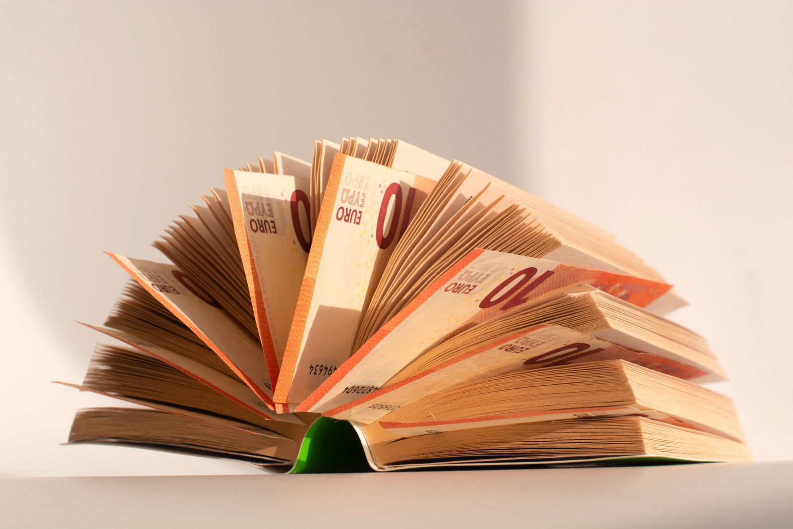 Books with nested euro banknotes, isolated on white.