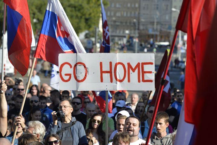 Anti-Einwanderer-Demo in Bratislawa