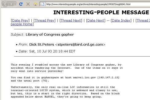 Interne Mitteilung der Library of Congress: Gopher sei dank ab sofort weltweit erreichbar