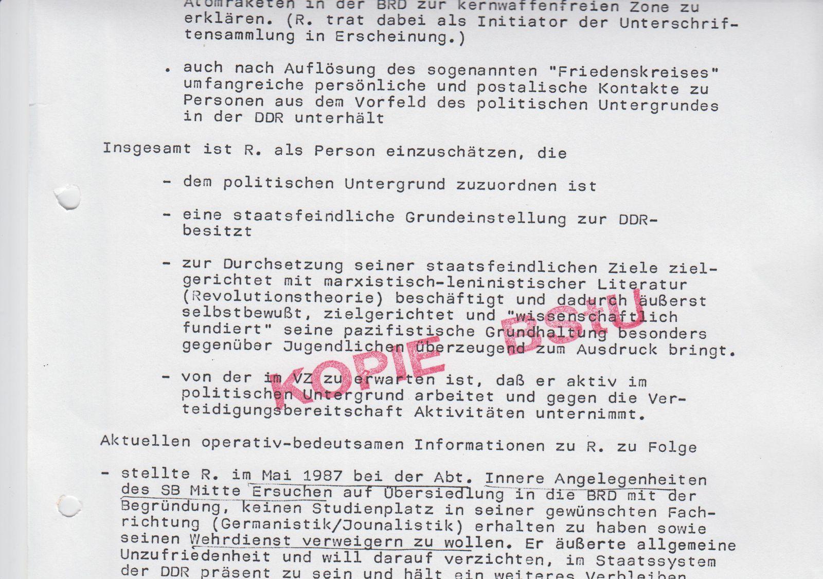 NUR FÜR EINESTAGES Romanski / BStU
