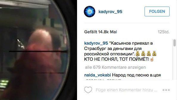 Screenshot von Kadyrows Instagram-Account: Oppositioneller im Fadenkreuz