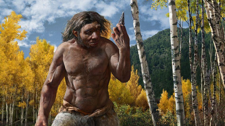 Künstlerische Darstellung eines Neandertalers