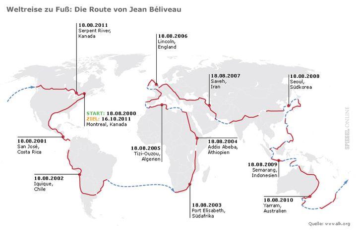 Weltreise zu Fuß: Die Route von Jean Béliveau